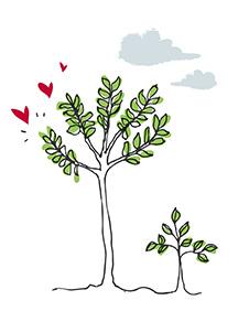 Imagen de árboles con corazones