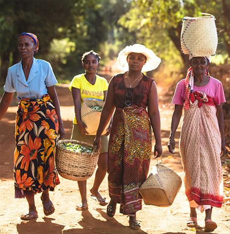 Foto de mujeres llevando bolsas